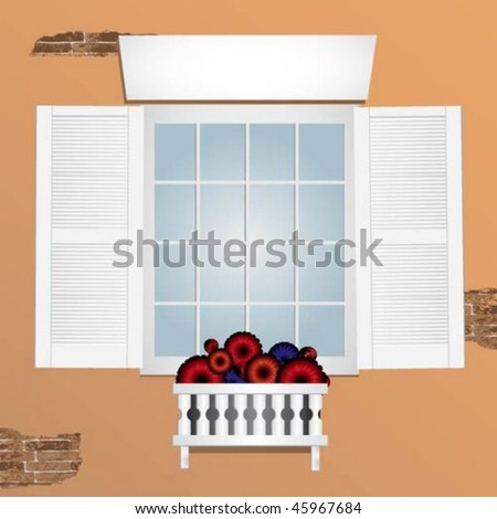 Elegant wooden shutters and window with flower box
