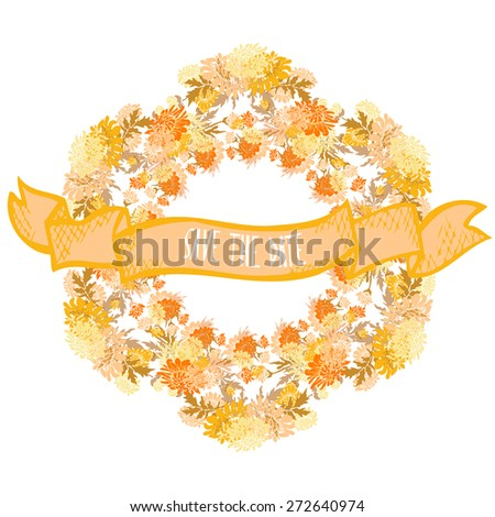 Elegant wreath with decorative chrysanthemum flowers, design element. Can be used for wedding, baby shower, mothers day, valentines day, birthday cards, invitations. Vintage decorative flowers. - stock vector