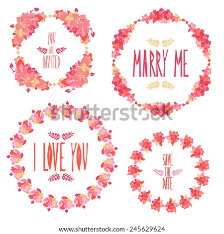 Elegant wreaths with decorative orchid flowers, design element. Can be used for wedding, baby shower, mothers day, valentines day, birthday cards, invitations. Vintage decorative flowers. - stock vector