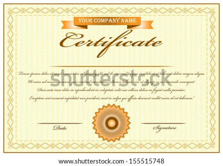 Elegant yellow certificate of achievement vector illustration with ribbon and stamp. Isolated editable eps10 vector design. - stock vector