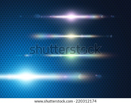 Element blue light with lens effect. - stock vector