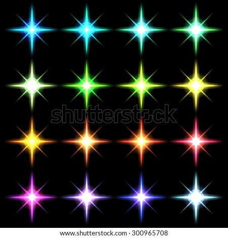 Element blue light with lens effect set.  Vector  - stock vector