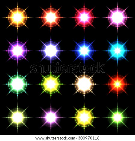 Element blue light with lens effect set.  Vector 5 - stock vector