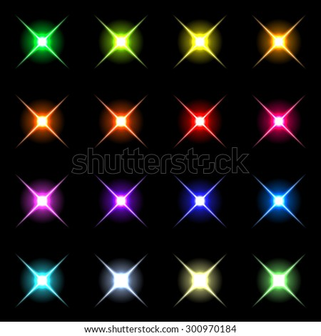 Element blue light with lens effect set.  Vector 3 - stock vector