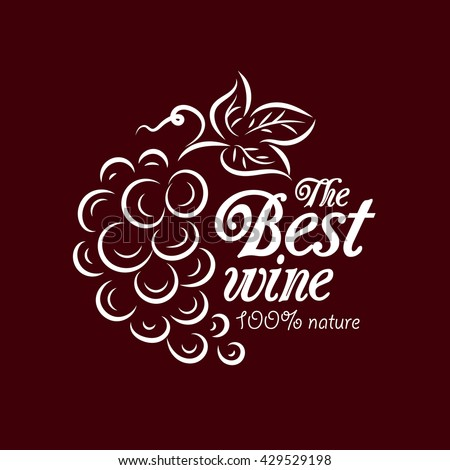 Element for logo design wine concept - a bunch of grapes. Vector graphic sign symbol for wineries,wine cellars,restaurants,wine store and other. - stock vector