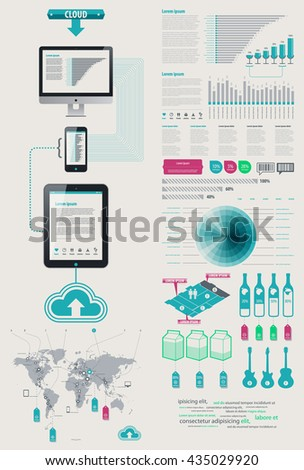 Element Infographics Cloud Technologies. icon display tablet and Cell Phone. bits and pieces of infographics on sales from the world map Vector EPS 10 file. Transparency used. - stock vector