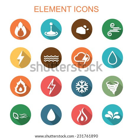 element long shadow icons, flat vector symbols - stock vector