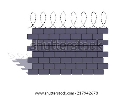 element of a stone fencing with a barbed wire - stock vector