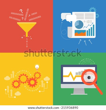 Element of data concept icon in flat design  - stock vector