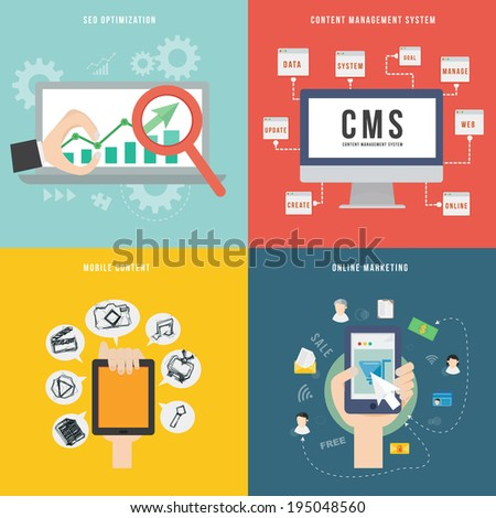 Element of SEO CMS mobile and marketing concept icon in flat design  - stock vector