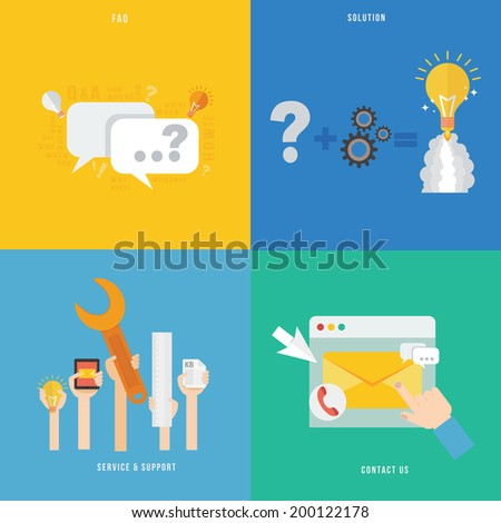 Element of service and support, solution, faq concept icon in flat design  - stock vector