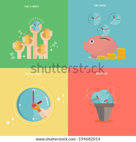 Element of time management concept icon in flat design  - stock vector