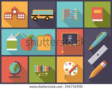Elementary school and basic education icons vector illustration