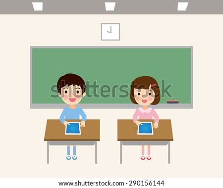 Elementary school classrooms have a tablet learning - stock vector
