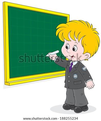 Elementary school student writing with chalk on the school blackboard - stock vector