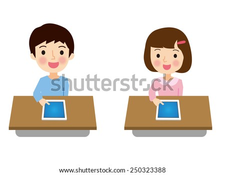 Elementary school students to study using the tablet terminal - stock vector