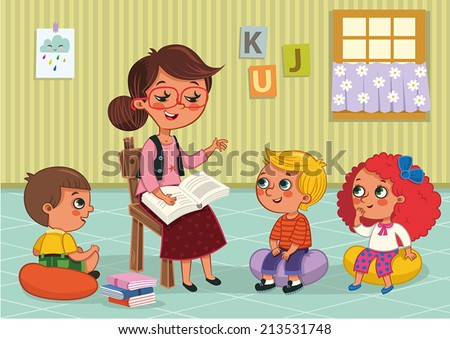 Elementary Students and Teacher - stock vector