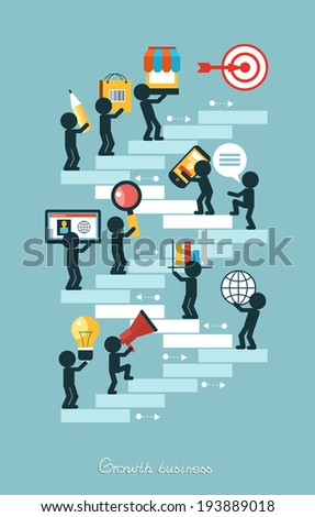 Elements a icons Finance make in businessman concept.Growth in business. - stock vector