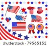Elements and icons related to American patriotism - stock vector