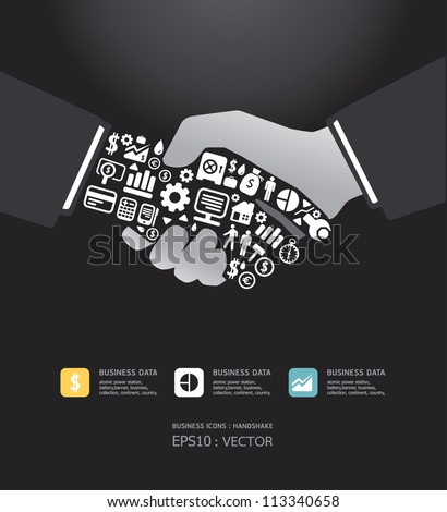 Elements are small icons Finance make in active businessman handshake shape.Vector illustration. - stock vector