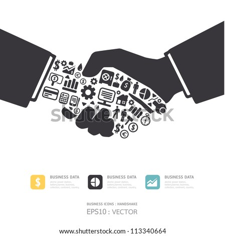Elements are small icons Finance make in active businessman handshake shape.Vector illustration. concept - stock vector