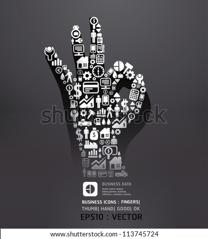 Elements are small icons Finance make in fingers shape ok .Vector illustration.black color - stock vector