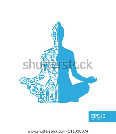 Elements are small icons sports make in active girl doing yoga shape.Vector illustration. concept - stock vector