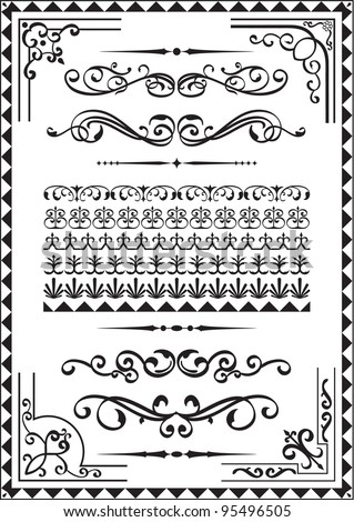 Elements for any borders on white - stock vector