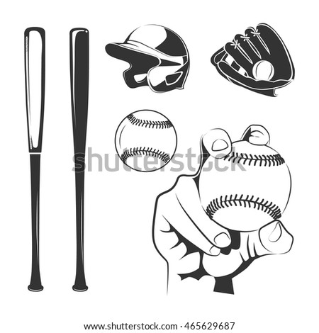 Elements for baseball club labels and badge. Emblem hand with ball. Vector illustration