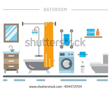 Elements for bathroom interior. Bathroom interior vector. Bathroom interior element isolated. Bathroom interior flat..  - stock vector