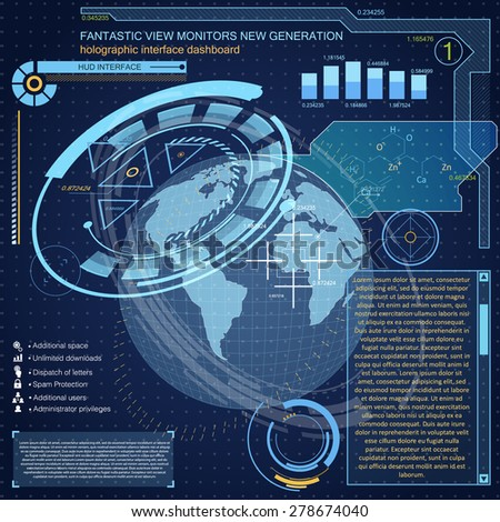 Elements for HUD interface.Complex engineering design, allowing to accurately determine the location of the object at any point on the globe. Satellite communications, navigation, tracking - stock vector