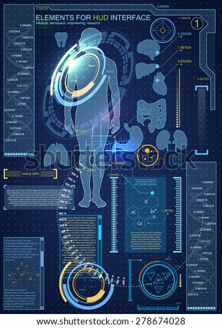 Elements for HUD interface.High-tech developments in the bio-engineering, allowing to define the human condition and to identify his various illnesses. Modern medicine diagnostic methods - stock vector