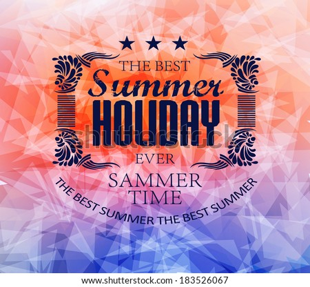 elements for Summer Holidays with colorful background  / calligraphic designs/ ornaments / labels