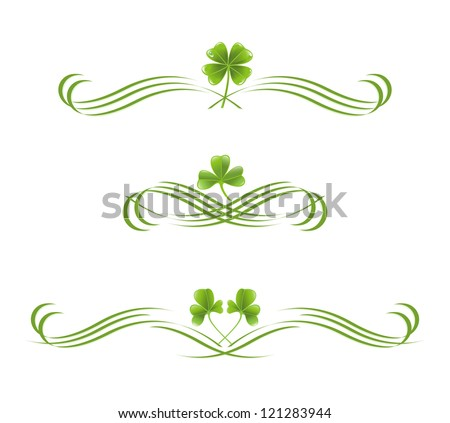 Elements in vintage style with clover leafs. Symmetric inward - stock vector