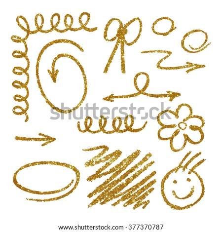 Elements made of gold glitter texture. Vector illustration