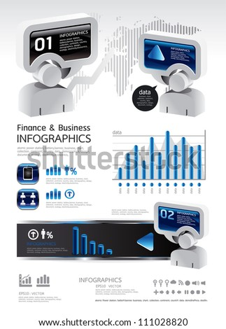 elements of business and finance infographics vector - stock vector