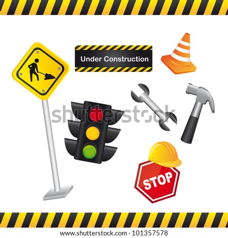 elements of construction isolated over white background. vector illustration - stock vector