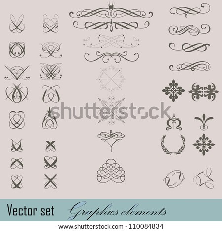 Elements of design in vintage style - stock vector