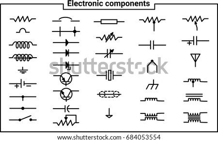 Elements Of Electrical Engineering Electronic Components For Create The Creation Circuits Set