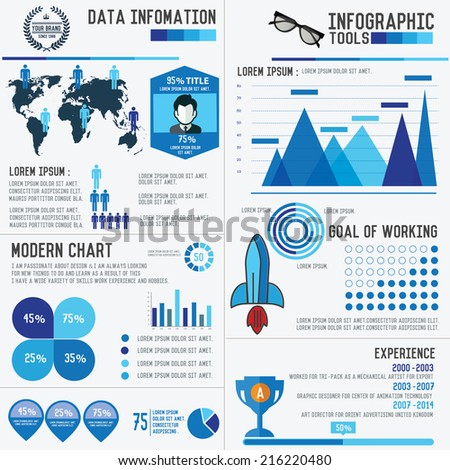 Elements of info graphic design,blue version,clean vector - stock vector