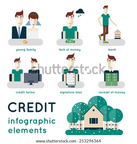 Elements of info-graphic showing process of getting loan. Saving money, deposits, finance control, visiting the bank, consultation, singing a contract. Buying a house. Modern flat illustration. - stock vector