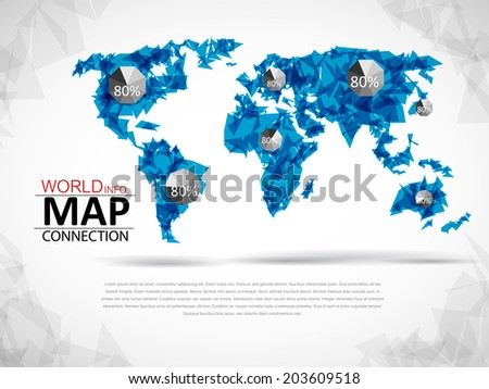 Elements of info graphics, world map connection  - stock vector