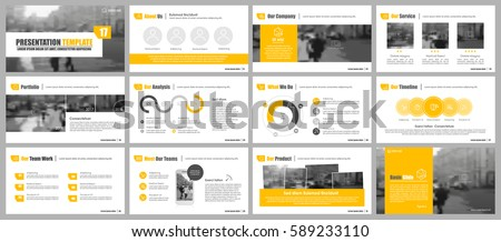 Elements of infographics for presentations templates. Leaflet, Annual report, book cover design. Brochure, layout, Flyer layout template design. Yellow and grey colors. Vector Illustration.