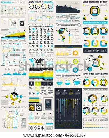 Elements of Infographics with buttons and menus.   Vector EPS 10 file. Transparency used.
