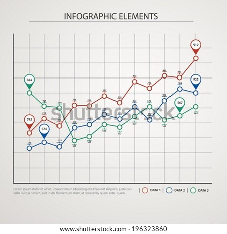 Elements of infographics with colored graphics. - stock vector