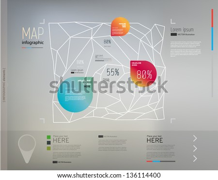 Elements of infographics with geometric structure(map structure)/Vector illustration/eps10 - stock vector