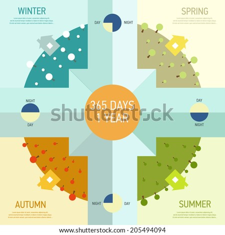 Elements of infographics with the four seasons of the year: winter, spring, summer, autumn. - stock vector