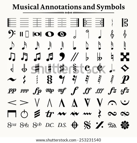 Elements of musical symbols, icons and annotations. - stock vector
