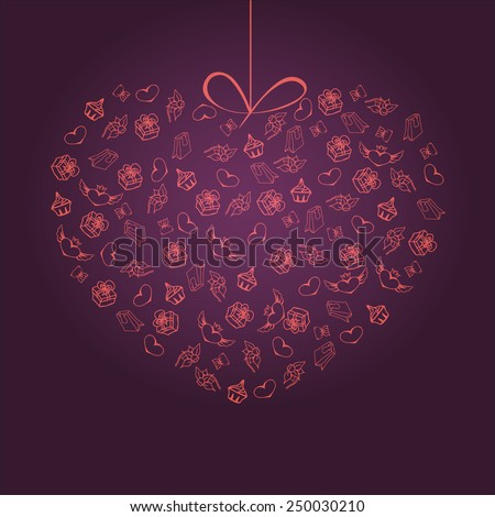 elements of the meeting in the form of heart - stock vector