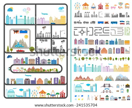 Elements of the modern city. Design your own town. Map elements for your pattern, web site or other type of design. Vector illustration. - stock vector